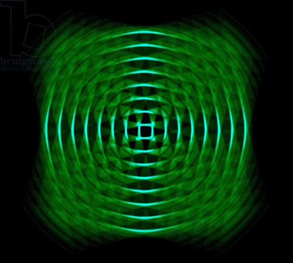 optical geometric in green,2017,(mixed media)