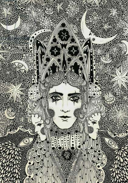 Winter Queen, 2013, (pen and ink on paper)