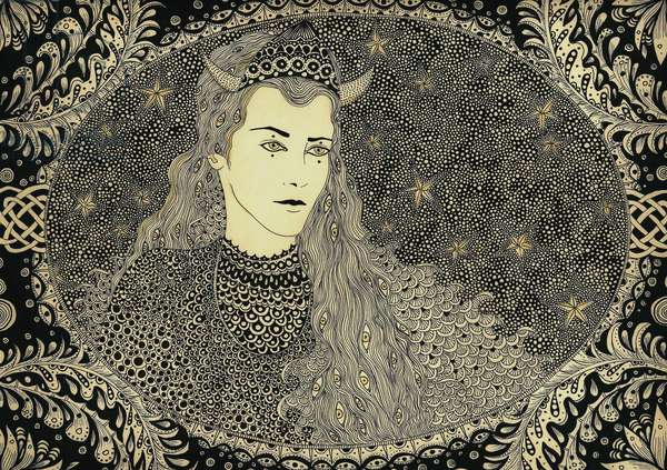 Isolde, 2014, (pen and ink on paper)