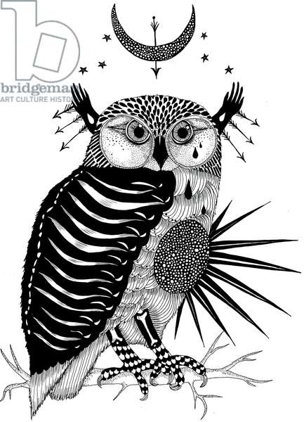 Laughing Owl, 2011 (pen and ink on paper)