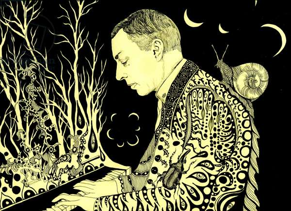 Rachmaninoff, 2016, (pen and ink on paper)