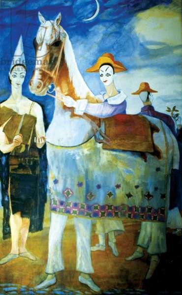 St. Philemon, Painted Horse and Clowns, 1972-73 (acrylic on canvas)