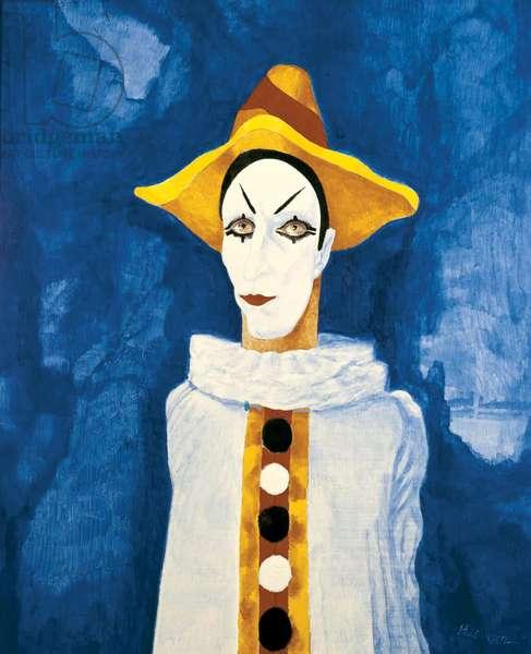 White Face Clown against Cavernous Backcloth, 1972 (acrylic on canvas)