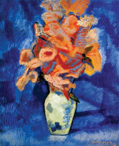 Bouquet in a Pottery Jar, 1973 (acrylic on canvas)