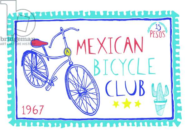 Mexican Bicycle Club, pen and ink, digitally coloured