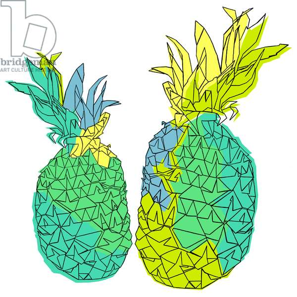 Pina pineapple, pen and ink, digitally coloured