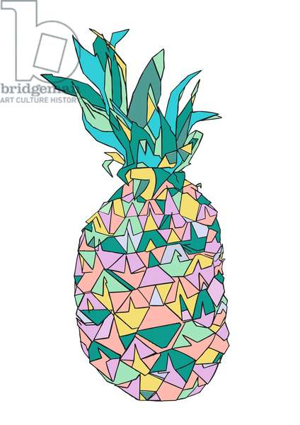 Pineapple Surprise, pen and ink, digitally coloured