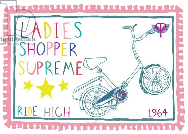 Ladies Shopper Supreme, pen and ink, digitally coloured