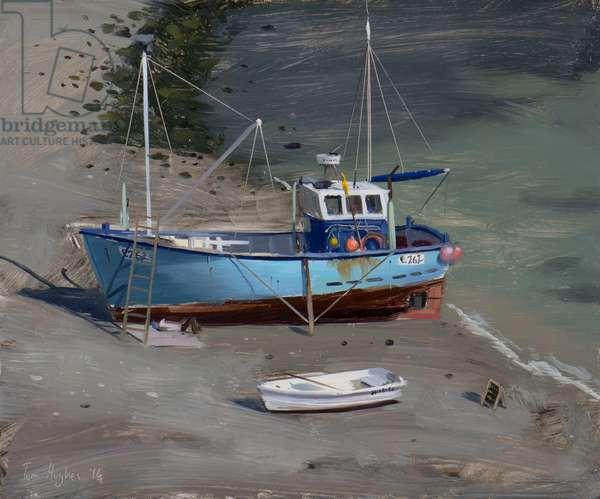 Blue boat, Lulworth Cove, September