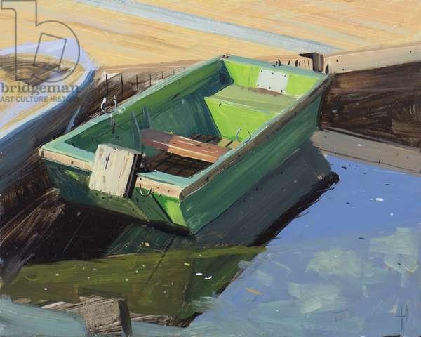 Green boat, Langorse lake, October
