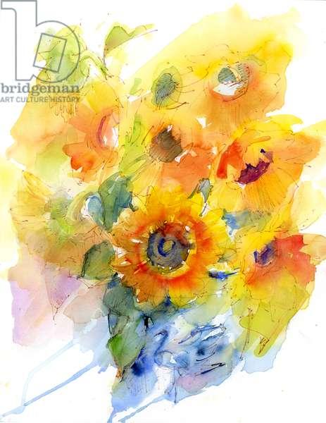 Sunflowers in vase, 2016 (watercolor)