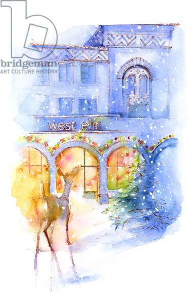 West Elm at Christmas, 2016, (watercolor)