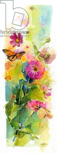 Zinnias and butterflies, 2015, (watercolor)