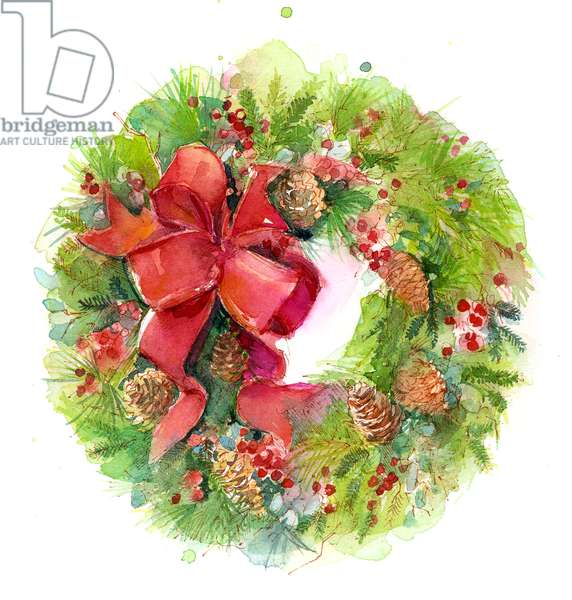 Christmas wreath with Red Bow, 2016, (watercolor)