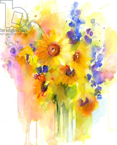 Sunflowers and delphinium, 2016, (watercolor)