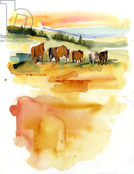 Horses at Sunset, 2015, (watercolor)