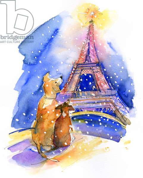Dogs with Eiffel Tower, 2016, (watercolor)