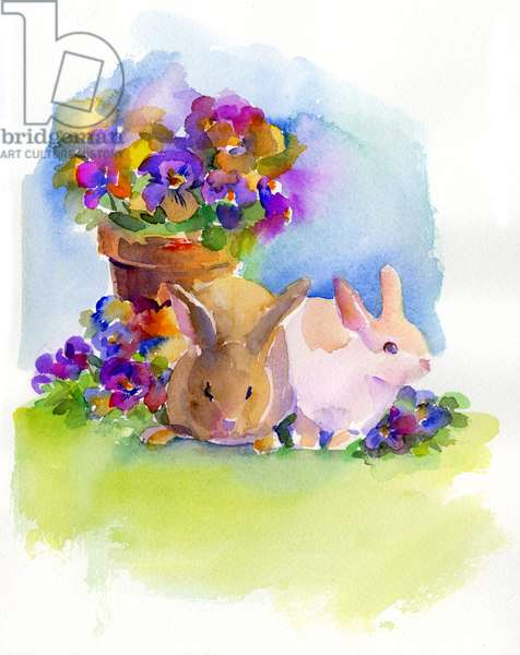 Bunnies with Pansies, 2014, (watercolor)