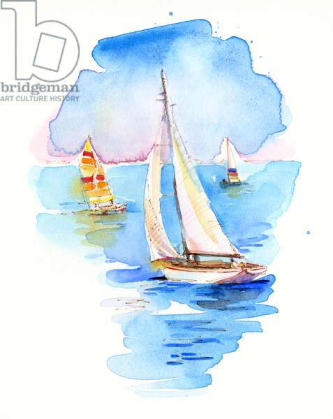 Sailboats, 2017, (watercolor)