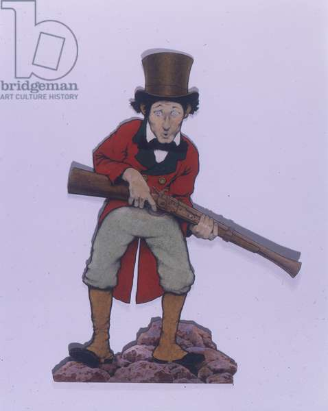 Man in Top Hat and Red Tail with Musket - Cutout, 1897 (oil & w/c on paper)