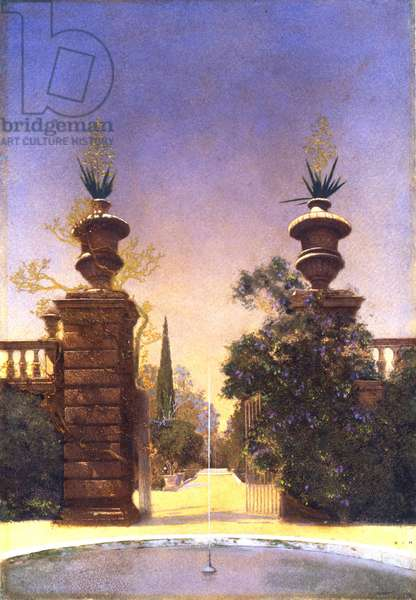 Gateway of the Botanical Gardens, Padua, 1903 (oil on paper mounted on stretcher)