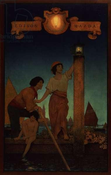 Venetian Lamplighters, 1922 (oil on panel)