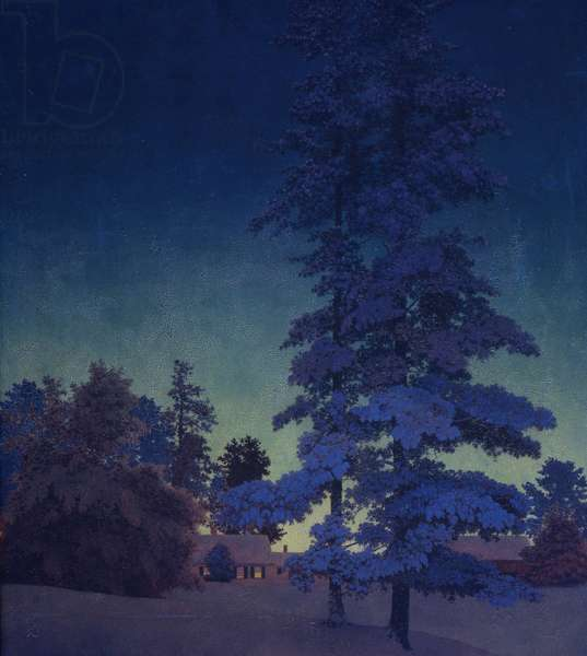 Winter Night Landscape, or Two Tall Pines - Study, c.1956-58 (oil on board)