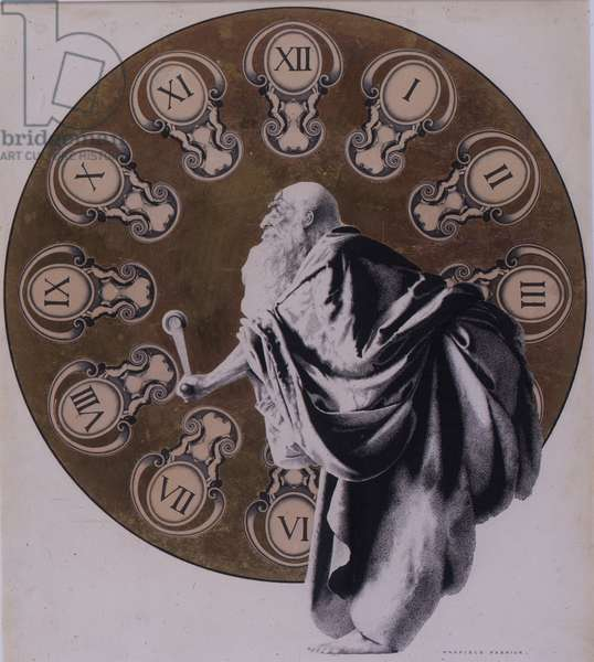Father Time, 1904 (pen & ink on paper with gold leaf)