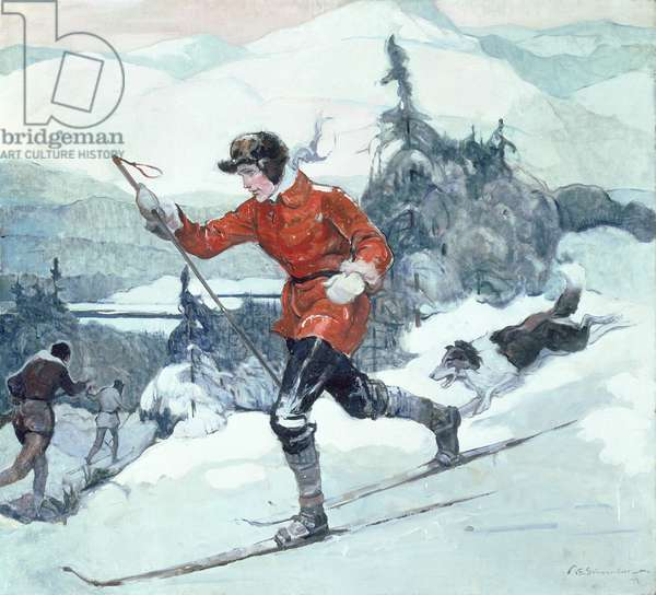 The Cross Country Skiers, 1939 (oil on canvas)