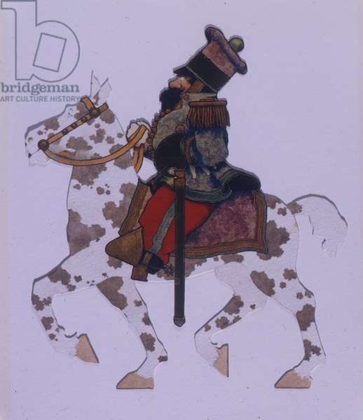 Spotted Horse and Soldier cutout, c.1910 (collage mounted on board)