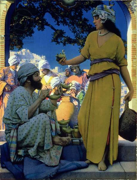 Lamp Seller of Baghdad, 1923 (colour litho)