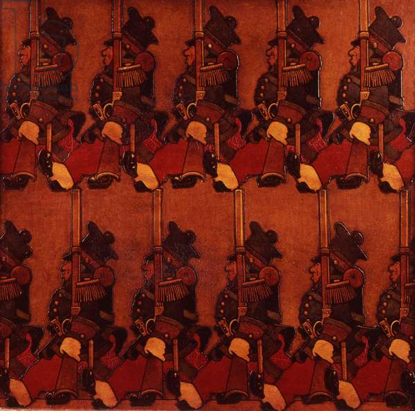 Parading Soldiers, 1912 (oil and collage)