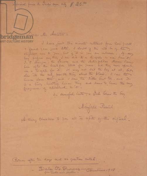 Letter to Austin Purves, c.1904 (pencil on paper)