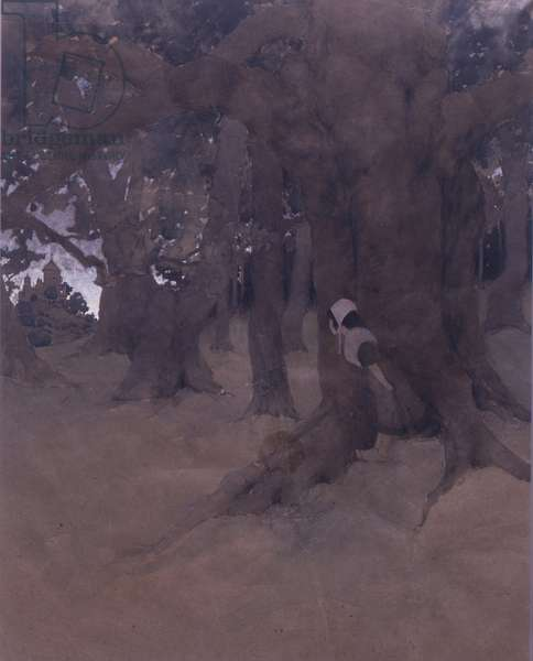 Watching in the Woods, Midsummer's Eve, c.1893 (w/c on brown paper)
