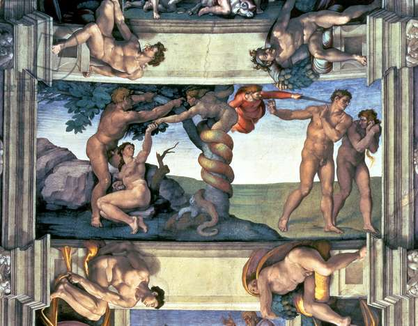 Sistine Chapel Ceiling: The Fall of Man and the Expulsion from the Garden of Eden, with four Ignudi, 1510 (fresco) (post restoration)