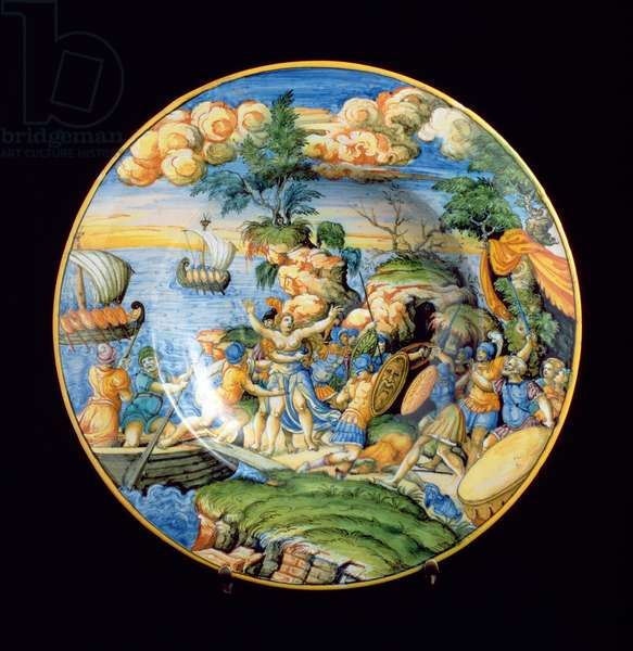 Maiolica plate depicting the abduction of Helen of Troy, Italian, 16th century (ceramic)