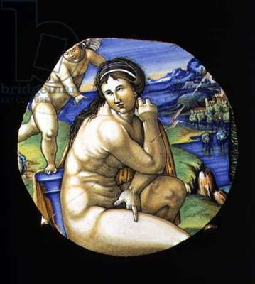 Maiolica plate depicting Venus and Cupid by the monogrammist F.L.R., Italian, made in Faenza, 16th century