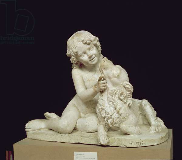 Boy playing with a dog, sculpture by Luigi Pampaloni (1791-1847), 1827 (plaster)