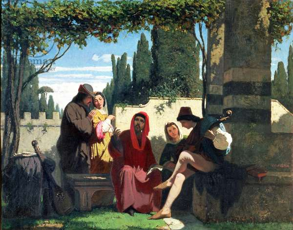 Florentine troubadours in the 14th century, 1860