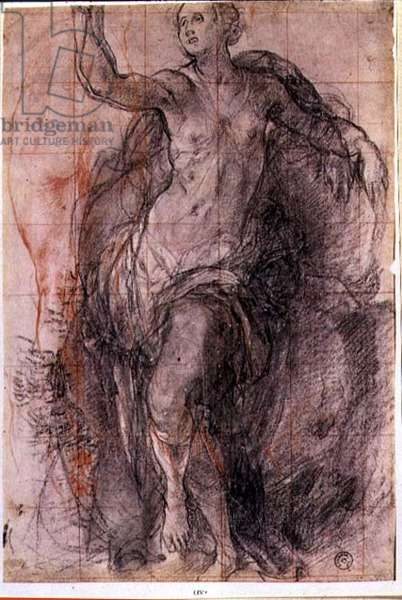 Study of a female figure with loose drapery (chalk)