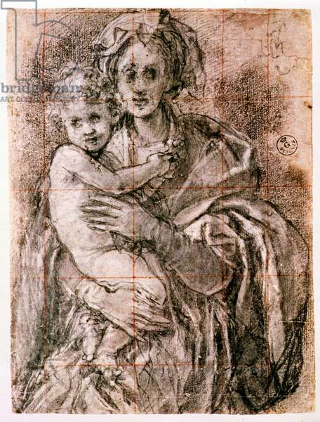 Study for The Virgin and Child with St. Joseph and John the Baptist, 1521-27 (black chalk on paper) (see also 226976)