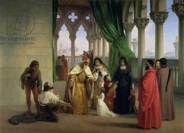 The Two Foscari: Francesco Foscari, Doge of Venice (c.1372-1457) banishing his son Jacopo on the charge of treasonable correspondence while in exile; subject of Bryon's poetic drama 'The Two Foscari'