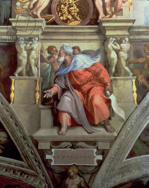 Sistine Chapel Ceiling: The Prophet Ezekiel, 1510 (fresco) (post restoration)