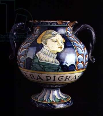 Maiolica two-handled pharmaceutical vase with a circular base and body decorated with a female portrait bust, stylised floral borders and text, Italian, made in Faenza, 16th century