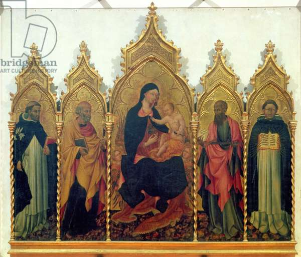 Madonna and Child with SS. Dominic, Peter, Paul and Thomas Aquinas, altarpiece, 1445 (tempera on panel)