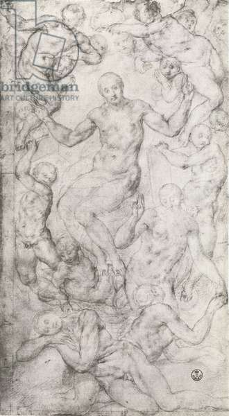 Study for 'Christ in Glory' and 'The Creation of Eve' in the Church of San Lorenzo, Florence (chalk)