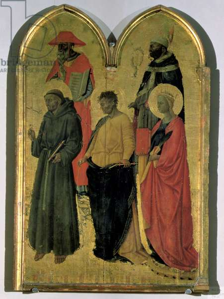 St. Francis, St. Jerome, St. Philip, St. Catherine and a bishop saint, c.1444 (tempera on panel)