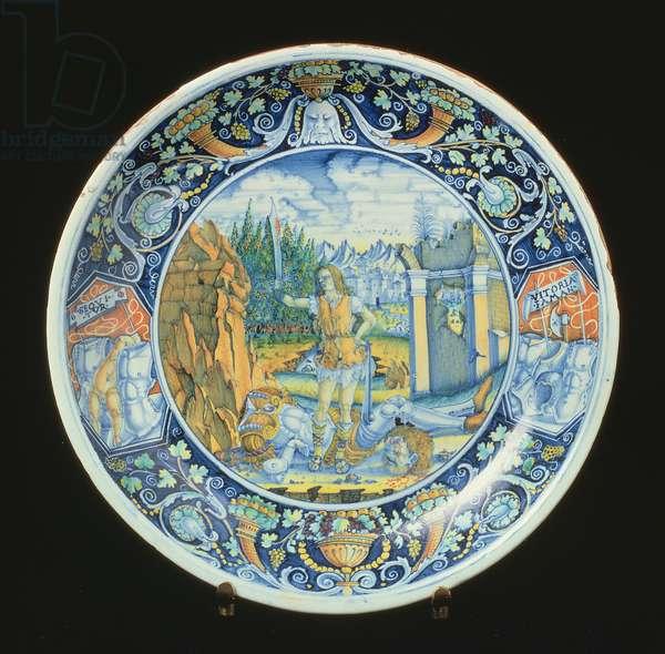 Maiolica plate depicting David and Goliath, Italian, made in Faenza, early 16th century (ceramic)