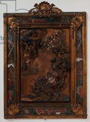 The Ecstasy of St. Teresa, relief panel by Massimiliano Soldani (1658-1740) (bronze)