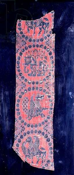Strip of silk lampas brocade decorated with fabulous animals, Spanish